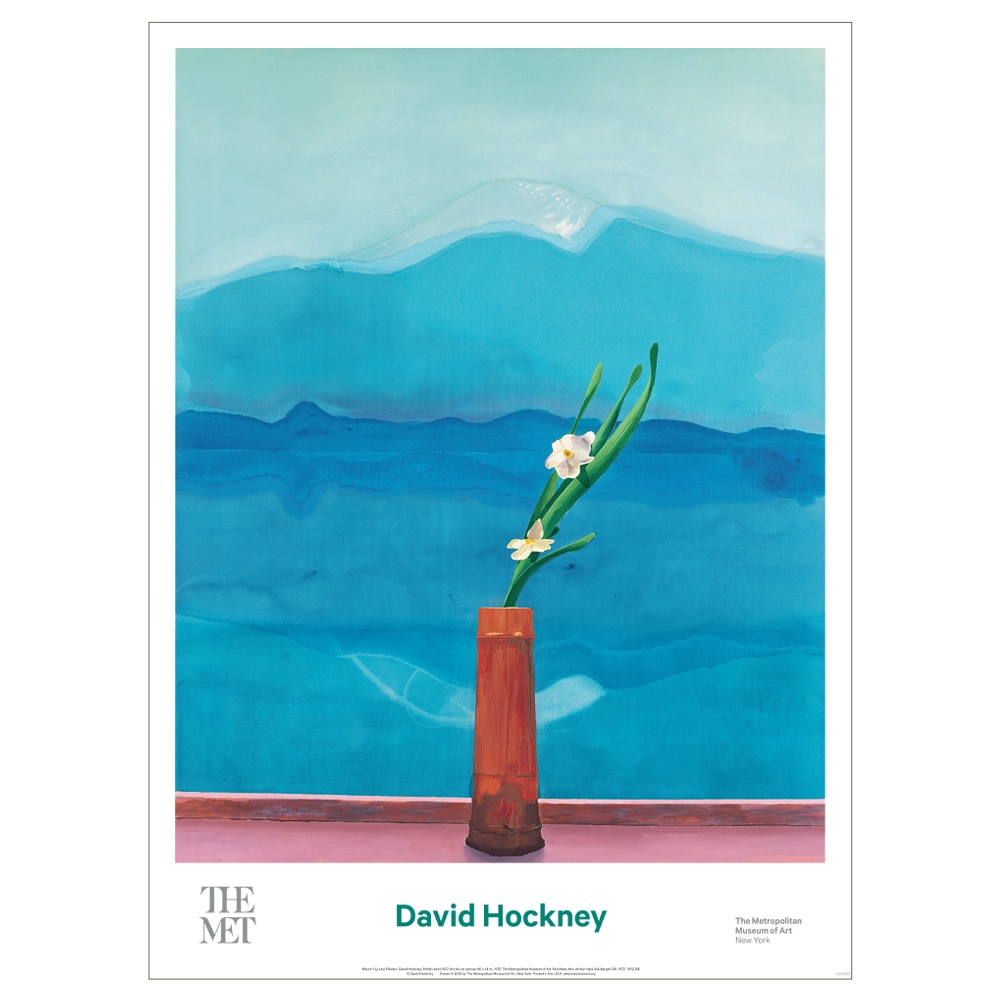 David Hockney  Mount Fuji and Flowers Poster - The Met Store 637e6b288