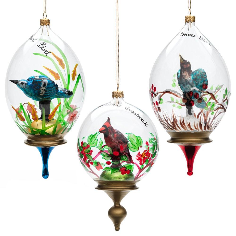 bird trio glass ornament set