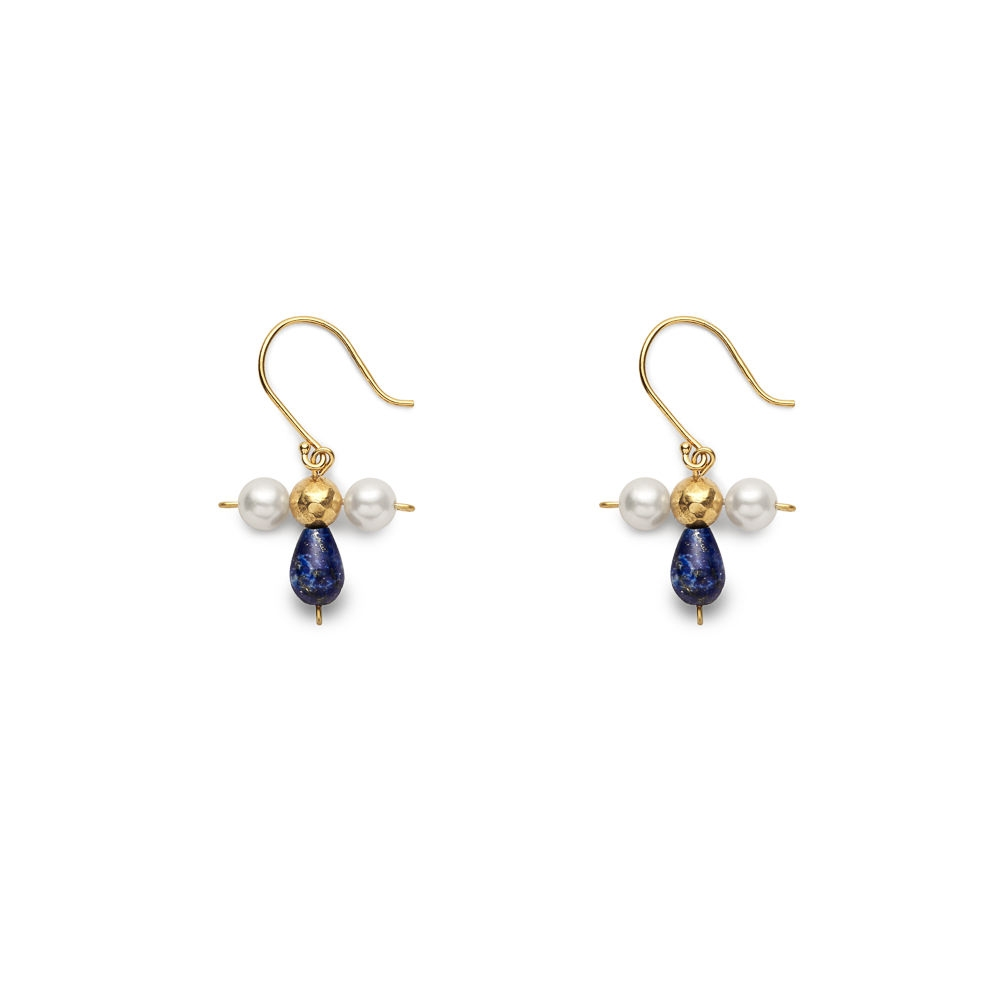 Byzantine Gems Earrings Lapis Pearl