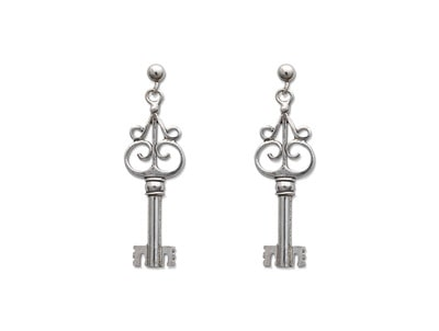 Gothic Key Scroll Earrings