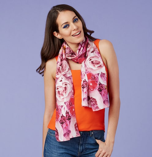 Faux Flowers Scarf