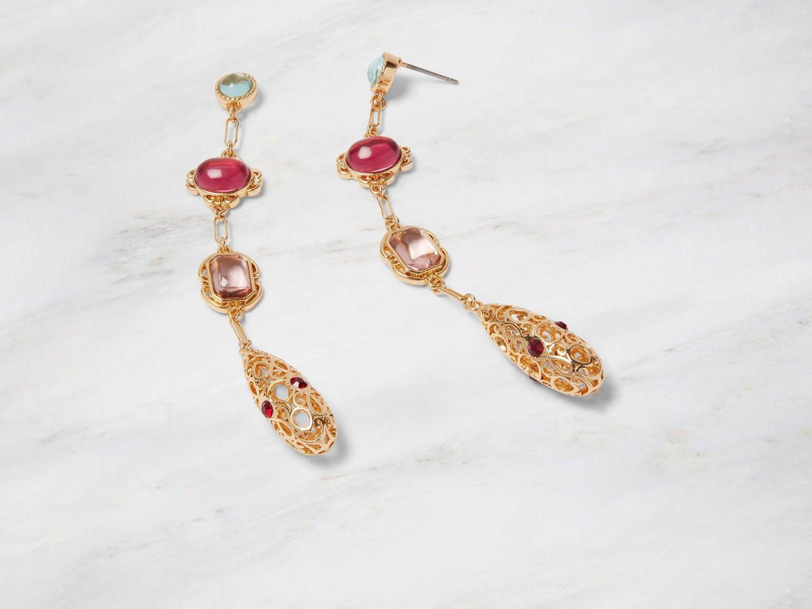 Cascading Gems Drop Earrings